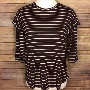 Anthropologie Dolan Maroon White Striped Top